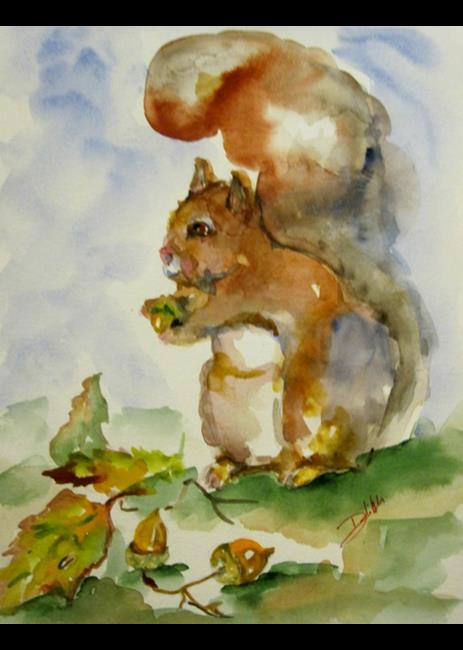 Art: Squirrel with Acorn by Artist Delilah Smith