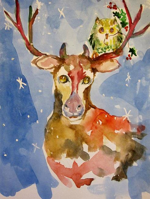 Art: Reindeer and Christmas Owl-SOLD by Artist Delilah Smith
