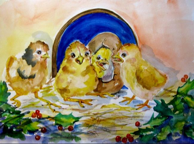 Art: Baby Chicks and Holly by Artist Delilah Smith