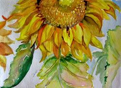 Art: Sunflower with Leaves by Artist Delilah Smith