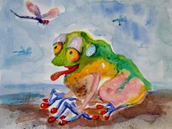 Art: Frog and Dragonfly by Artist Delilah Smith