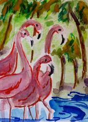 Art: Pink Flamingos by Artist Delilah Smith