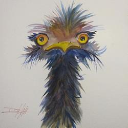 Art: Long Neck Ostrich by Artist Delilah Smith