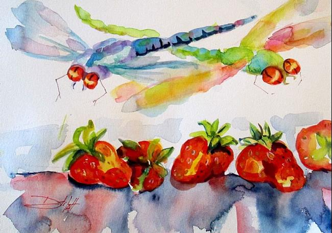 Art: Dragonflies and Strawberries by Artist Delilah Smith