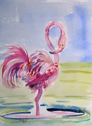 Art: Pink Flamingo by Artist Delilah Smith