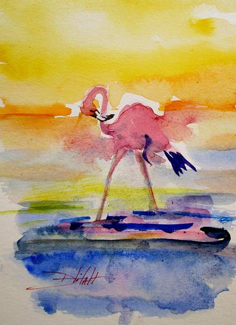 Art: Flamingo at Sunset-sold by Artist Delilah Smith