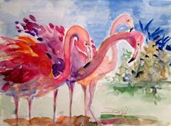 Art: Three Pink Flamingos by Artist Delilah Smith