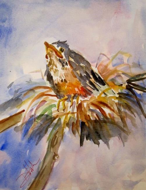 Art: Baby Robin by Artist Delilah Smith