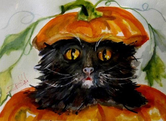 Art: Pumpkin Kitty-SOLD by Artist Delilah Smith