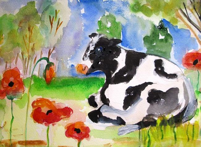 Art: Snoozing in the Poppies by Artist Delilah Smith