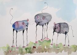 Art: Long Legged Mice by Artist Delilah Smith