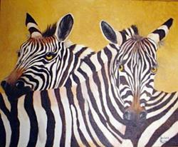 Art: Zebras in Love   by Artist Barbara Haviland
