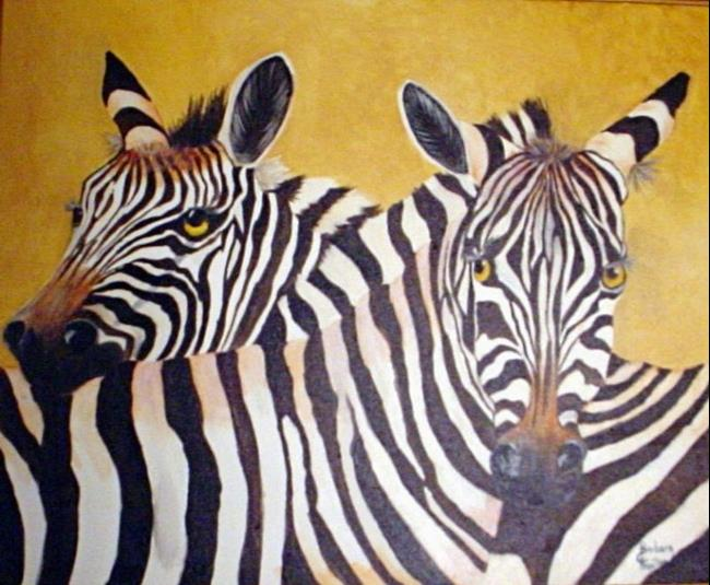 Art: Zebras in Love   by Artist Barbara Haviland