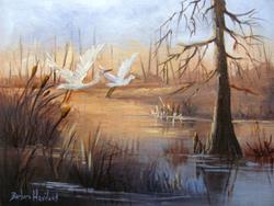 Art: Egrets at Sunset by Artist Barbara Haviland