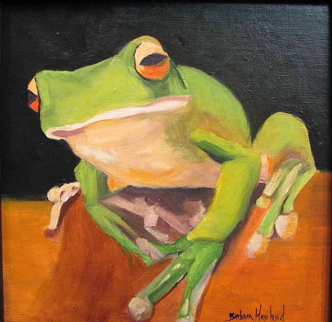 Art: Green Frog  What??  by Barbara Haviland by Artist Barbara Haviland