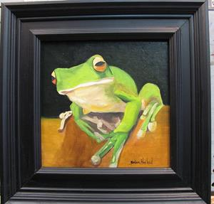 Detail Image for art Green Frog  What??  by Barbara Haviland