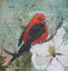 Art: Red  Tanager  and Magnolia by Artist Barbara Haviland
