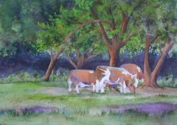Art: Cows and Clover by Artist Kathy Haney