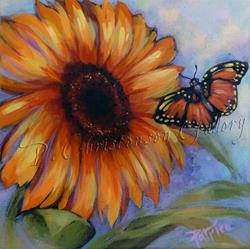 Art: Desert Butterfly & Sunflower by Artist Patricia  Lee Christensen