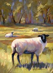 Art: Sheep at Mountain Green by Artist Patricia  Lee Christensen