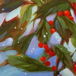 Detail Image for art Winter Cardinal in Holly Tree with Snow
