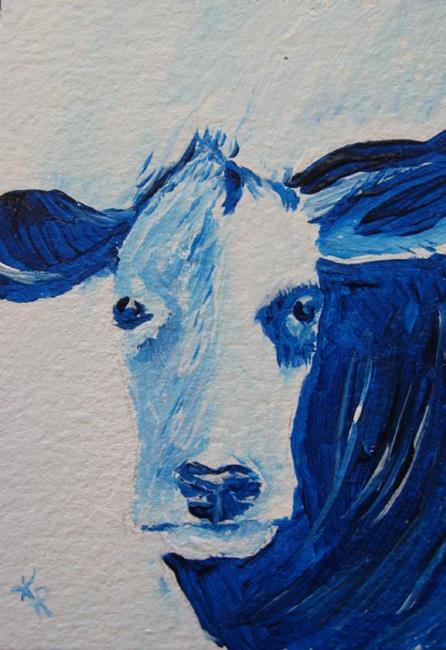 Art: Blue Bovine - sold by Artist Kathleen Ralph