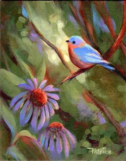 Art: Echinacea & Blue Bird by Artist Patricia  Lee Christensen