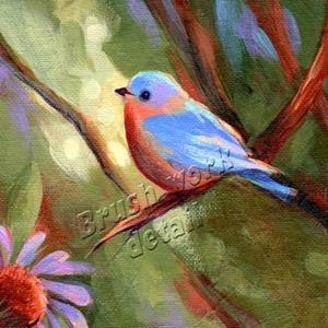Detail Image for art Echinacea & Blue Bird
