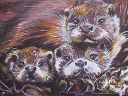Art: Otter family by Artist Saskia Franken-Saers