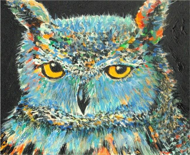 Art: Owl Portrait by Artist Ulrike 'Ricky' Martin