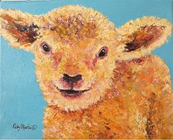 Art: Little Lamb Impasto by Artist Ulrike 'Ricky' Martin