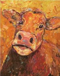 Art: Abstract Cow by Artist Ulrike 'Ricky' Martin