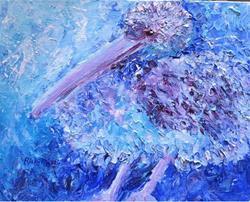 Art: Blue Pelican by Artist Ulrike 'Ricky' Martin