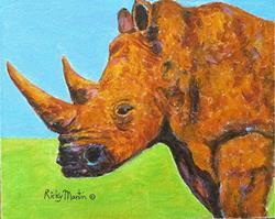 Art: Rhino Portrait by Artist Ulrike 'Ricky' Martin
