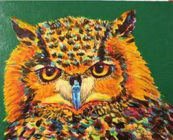 Art: Great Horned Owl  ( Eagle Owl) by Artist Ulrike 'Ricky' Martin