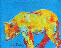 Art: Multi Color Bear Impasto - SOLD by Artist Ulrike 'Ricky' Martin