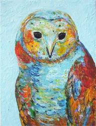 Art: Impasto Owl Portrait  - sold by Artist Ulrike 'Ricky' Martin