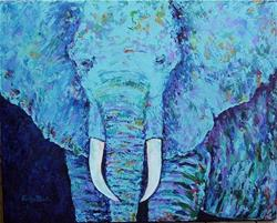 Art: Abstract Elephant Portrait  - sold by Artist Ulrike 'Ricky' Martin