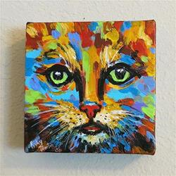 Art: Abstract Cat 1 - sold by Artist Ulrike 'Ricky' Martin