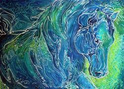 Art: AQUA MIST EQUINE BATIK by Artist Marcia Baldwin