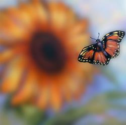 Art: Butterfly and Sunflowers ~ Bokeh by Artist Patricia  Lee Christensen