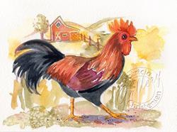 Art: Leghorn Rooster by Artist Patricia  Lee Christensen
