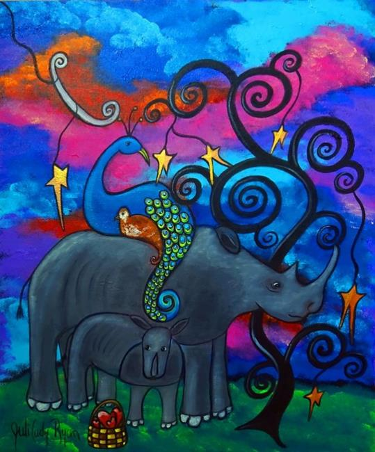 Art: A Rhino and Peacock Lullaby by Artist Juli Cady Ryan