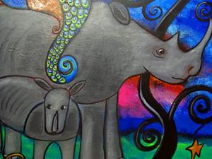 Detail Image for art A Rhino and Peacock Lullaby