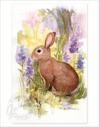 Art: Spring Bunny and Wildflowers by Artist Patricia  Lee Christensen