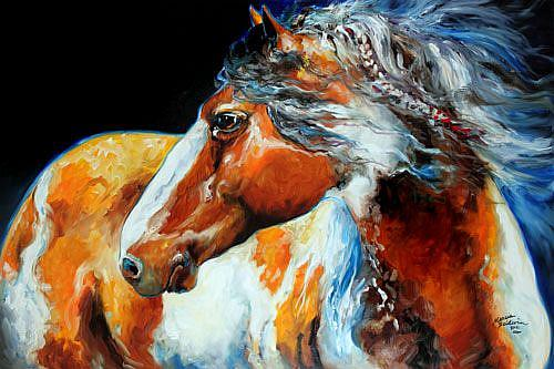 Art: MOHICAN the INDIAN WAR PONY by Artist Marcia Baldwin