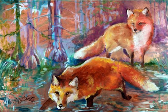 Art: TWO RED FOX on COPPER by Artist Marcia Baldwin