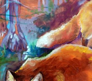 Detail Image for art TWO RED FOX on COPPER