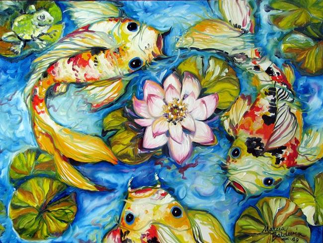 Frog pond koi by marcia baldwin from animals for Koi fish pond art