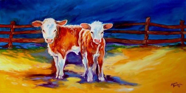 Art: 2 CALVES by Artist Marcia Baldwin